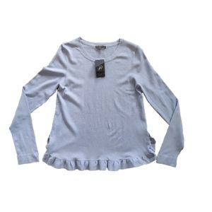 Adrianna Papell Ruffle Trim Light Blue Sweater M